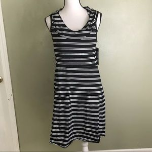 Marc New York Black/White Stripped Hooded Dress L
